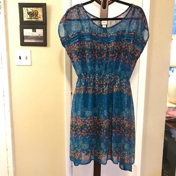 Mossimo Supply Co. Dresses & Skirts - Mossimo Blue Summer Print Dress Elastic Waist